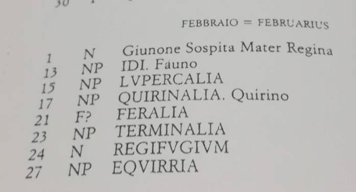Calendario romano di febbraio