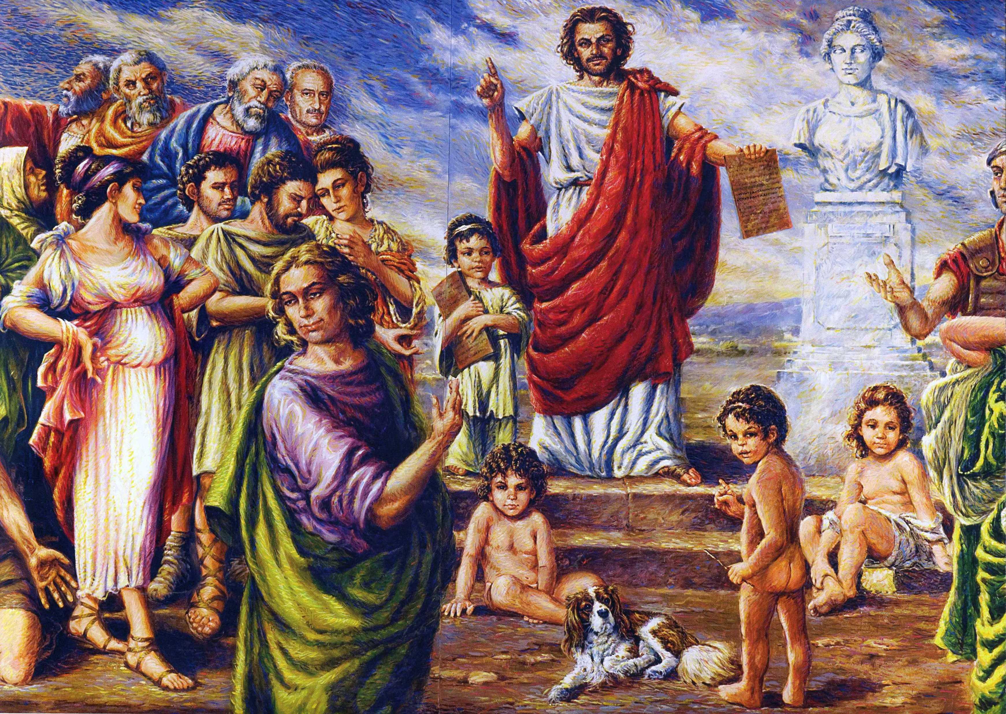 Il dipinto di Andrea Valere che raffigura Zaleuco al consiglio regionale della Calabria